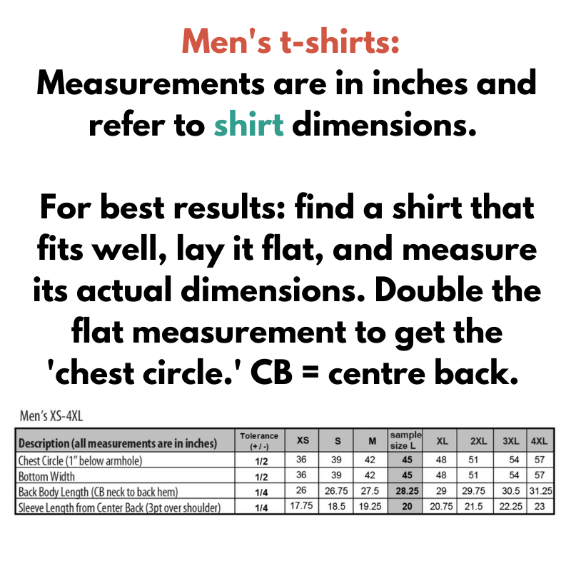Size chart - men's t-shirts