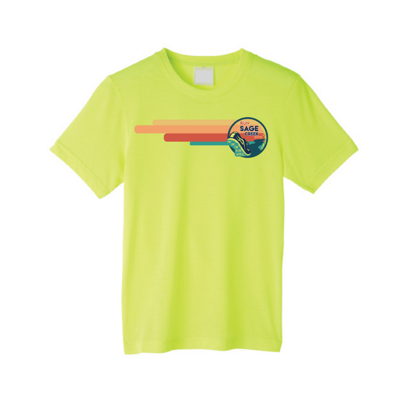 fluorescent yellow t-shirt with run sage creek logo across the chest